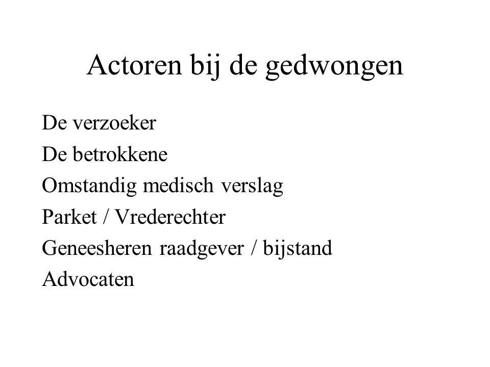 Actoren bij de gedwongen De verzoeker De betrokkene Omstandig medisch verslag Parket / Vrederechter Geneesheren raadgever / bijstand Advocaten