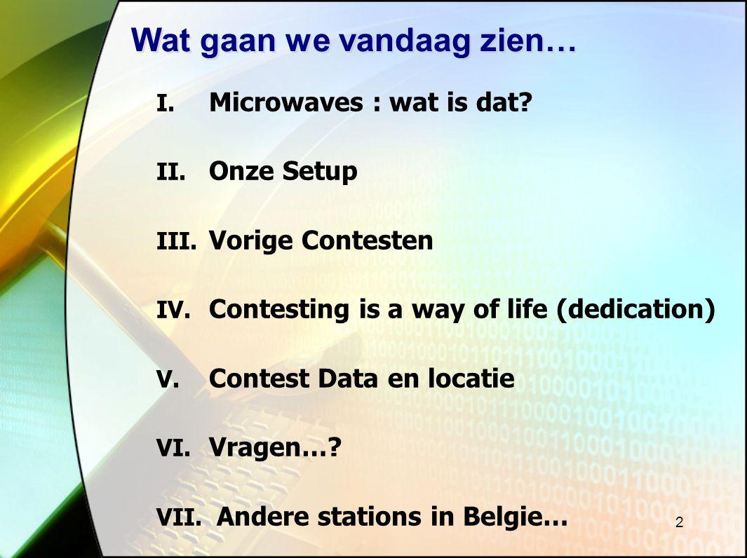 2 Wat gaan we vandaag zien… I.Microwaves : wat is dat.