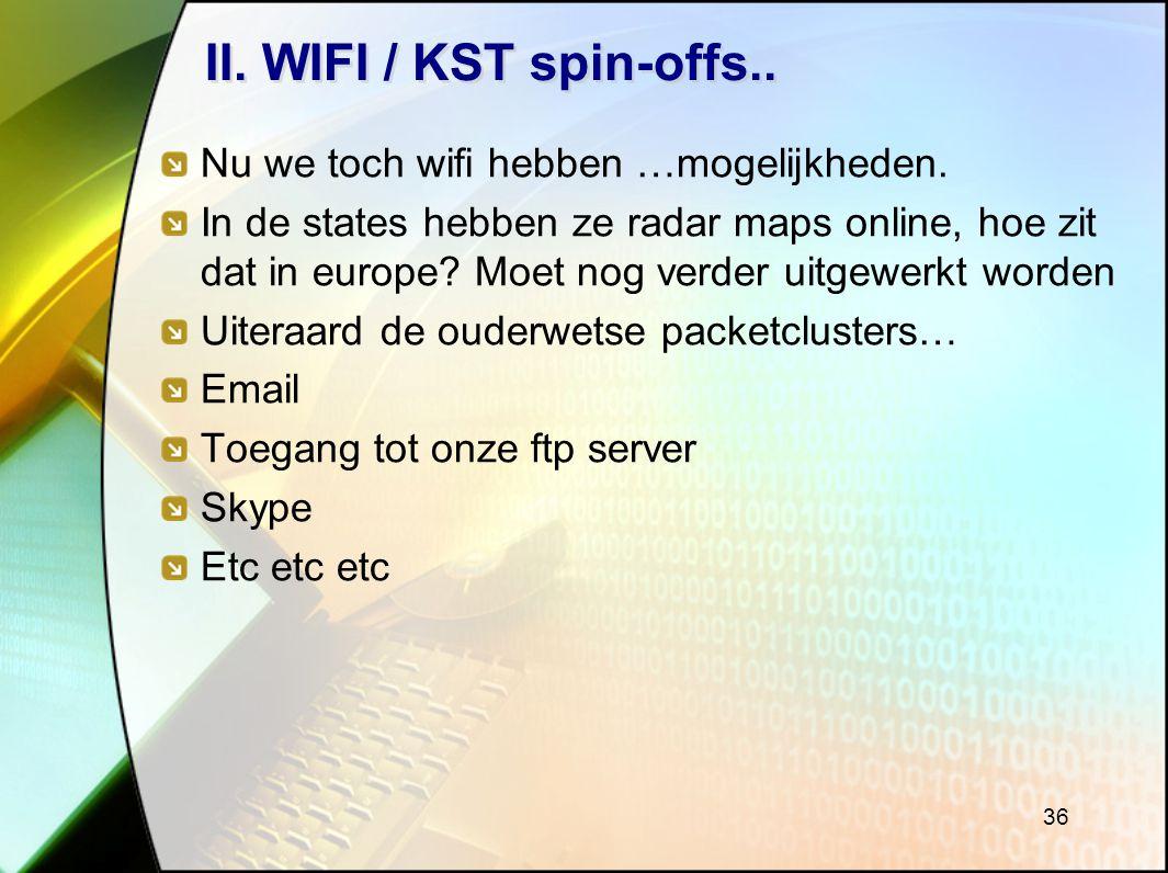 36 II.WIFI / KST spin-offs.. Nu we toch wifi hebben …mogelijkheden.
