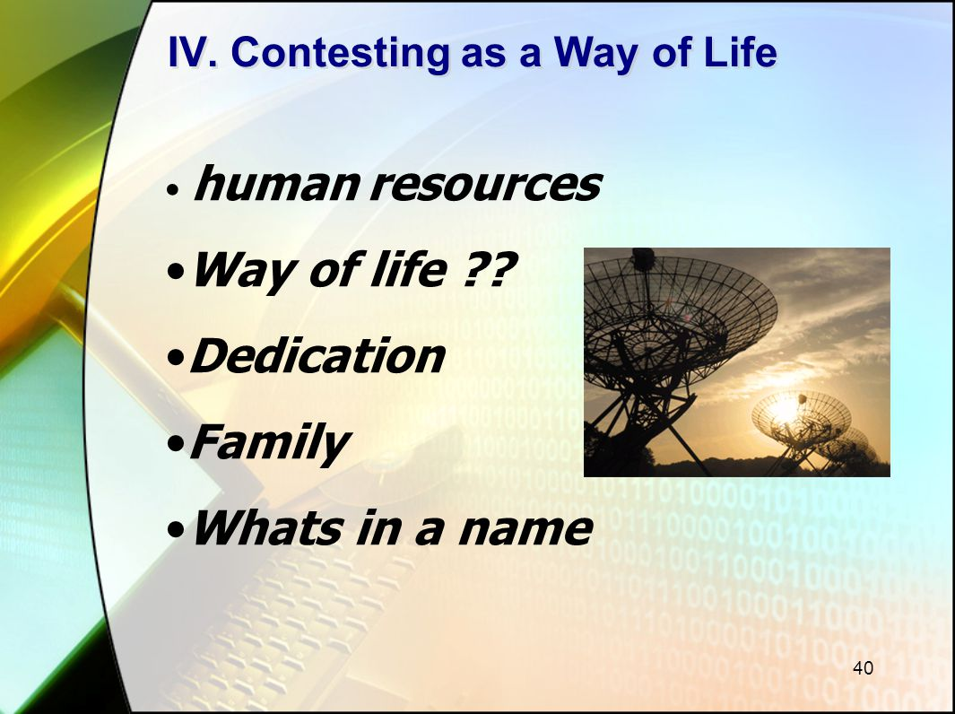 40 IV. Contesting as a Way of Life human resources Way of life ?? Dedication Family Whats in a name