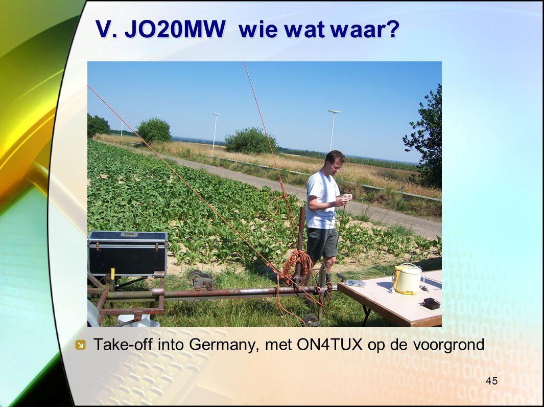 45 V. JO20MW wie wat waar? Take-off into Germany, met ON4TUX op de voorgrond