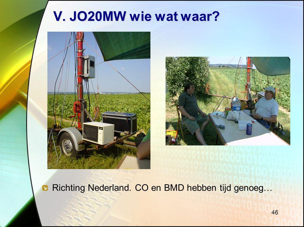 46 V. JO20MW wie wat waar? Richting Nederland. CO en BMD hebben tijd genoeg…