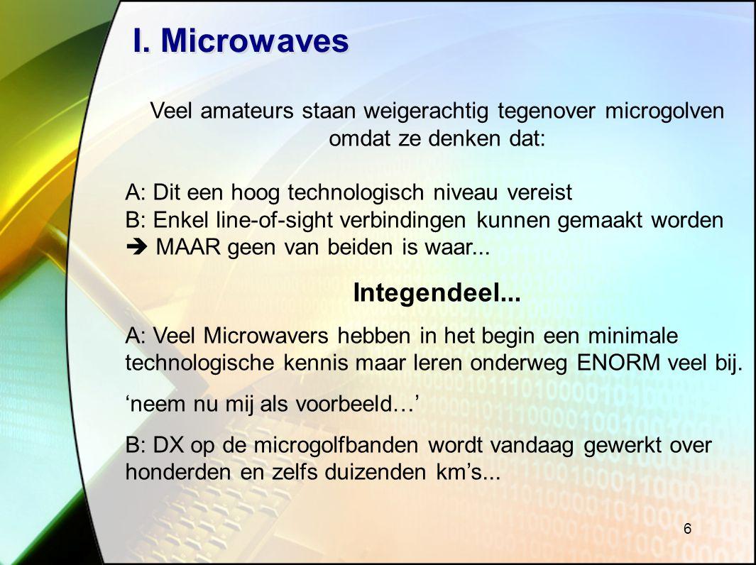 6 I. Microwaves Veel amateurs staan weigerachtig tegenover microgolven omdat ze denken dat: A: Dit een hoog technologisch niveau vereist B: Enkel line