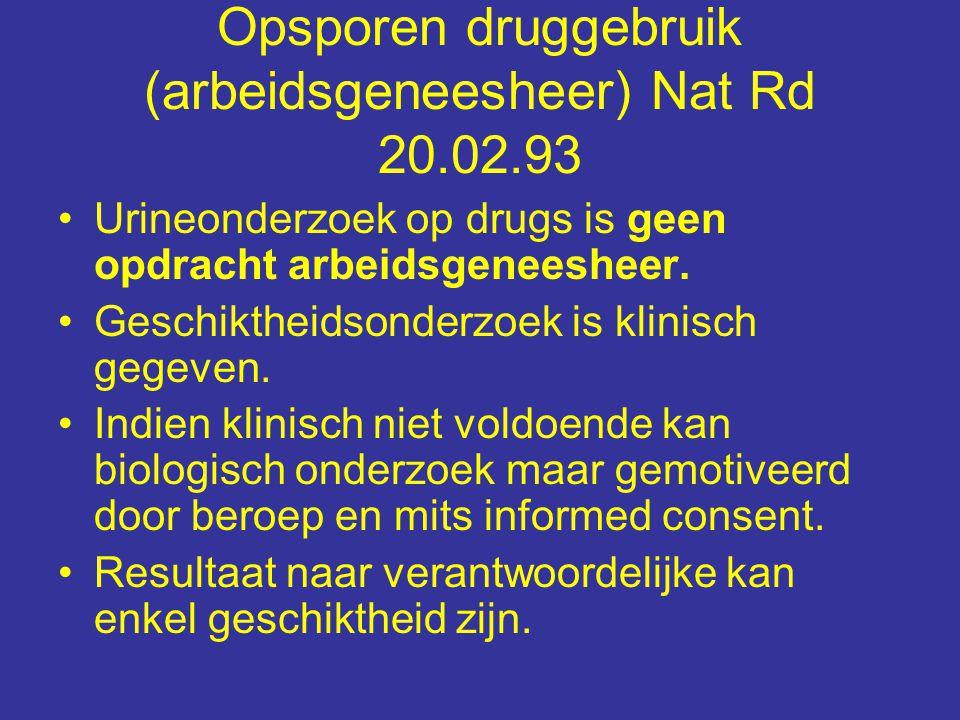 Opsporen druggebruik (arbeidsgeneesheer) Nat Rd 20.02.93 Urineonderzoek op drugs is geen opdracht arbeidsgeneesheer.