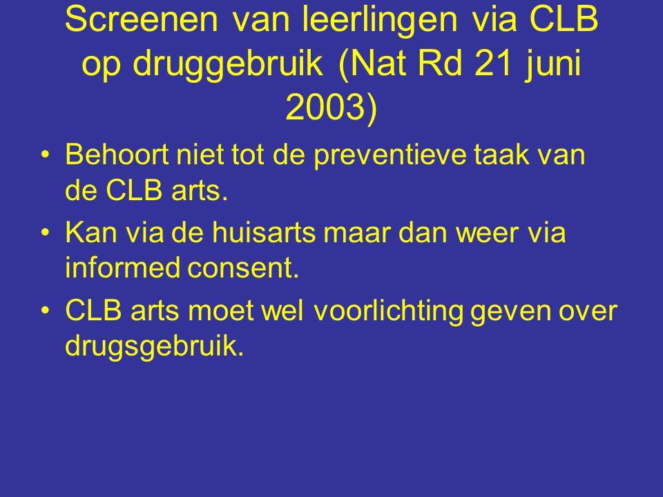 Screenen van leerlingen via CLB op druggebruik (Nat Rd 21 juni 2003) Behoort niet tot de preventieve taak van de CLB arts.