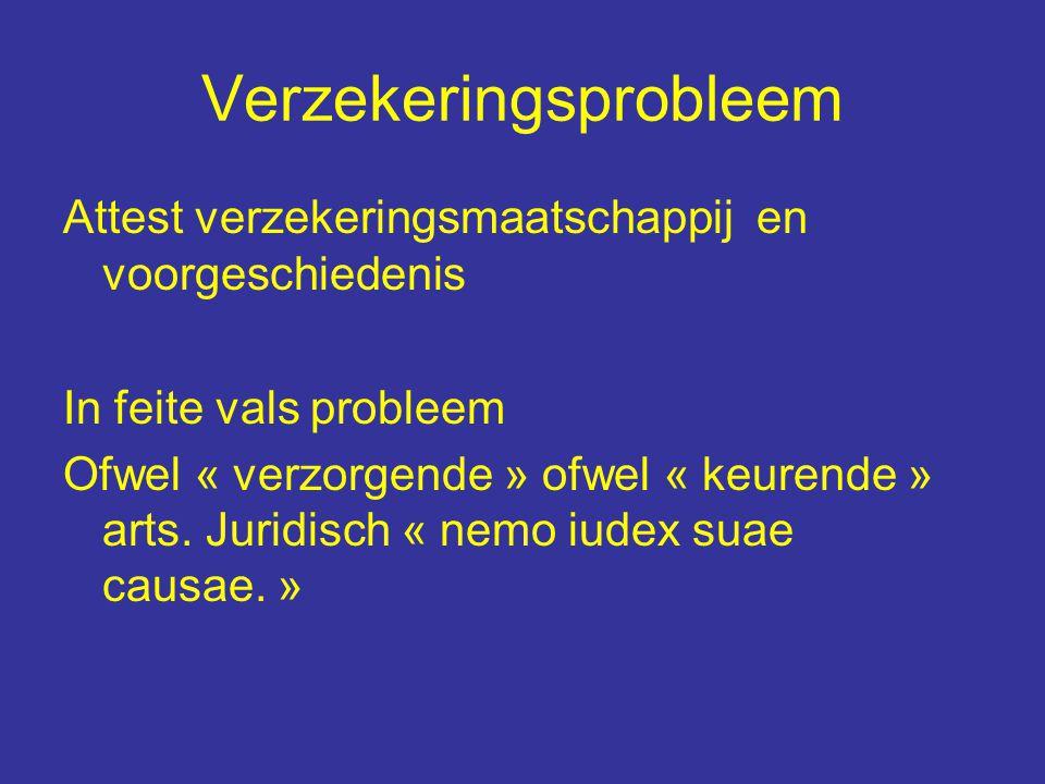 Verzekeringsprobleem Attest verzekeringsmaatschappij en voorgeschiedenis In feite vals probleem Ofwel « verzorgende » ofwel « keurende » arts.