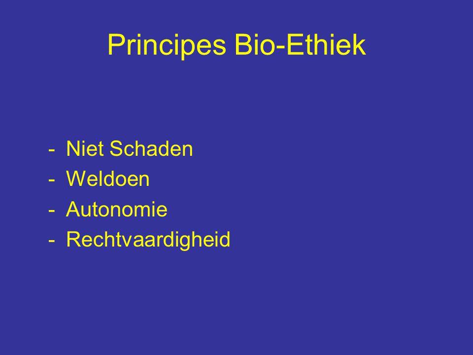 Principes Bio-Ethiek -Niet Schaden -Weldoen -Autonomie -Rechtvaardigheid