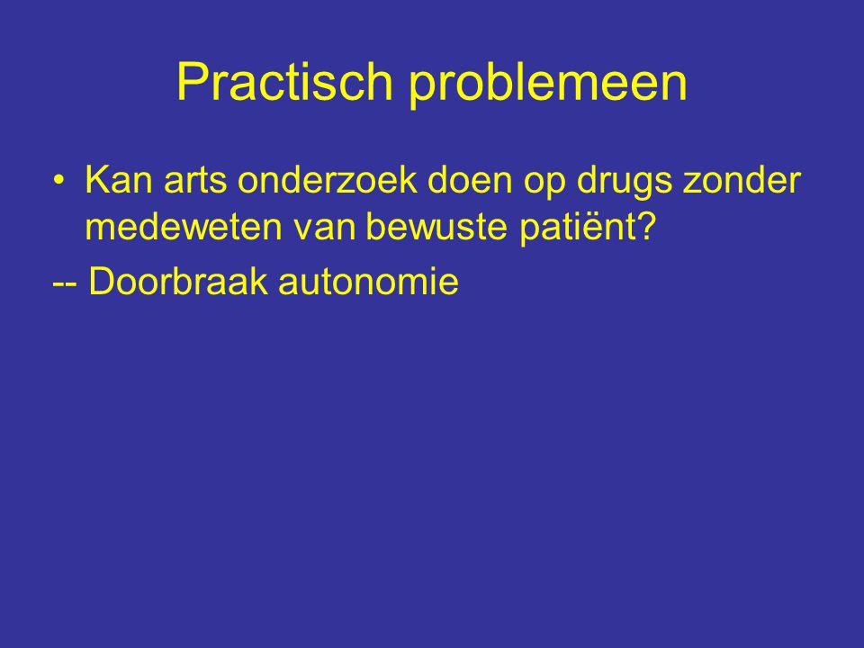 Practisch problemeen Kan arts onderzoek doen op drugs zonder medeweten van bewuste patiënt.