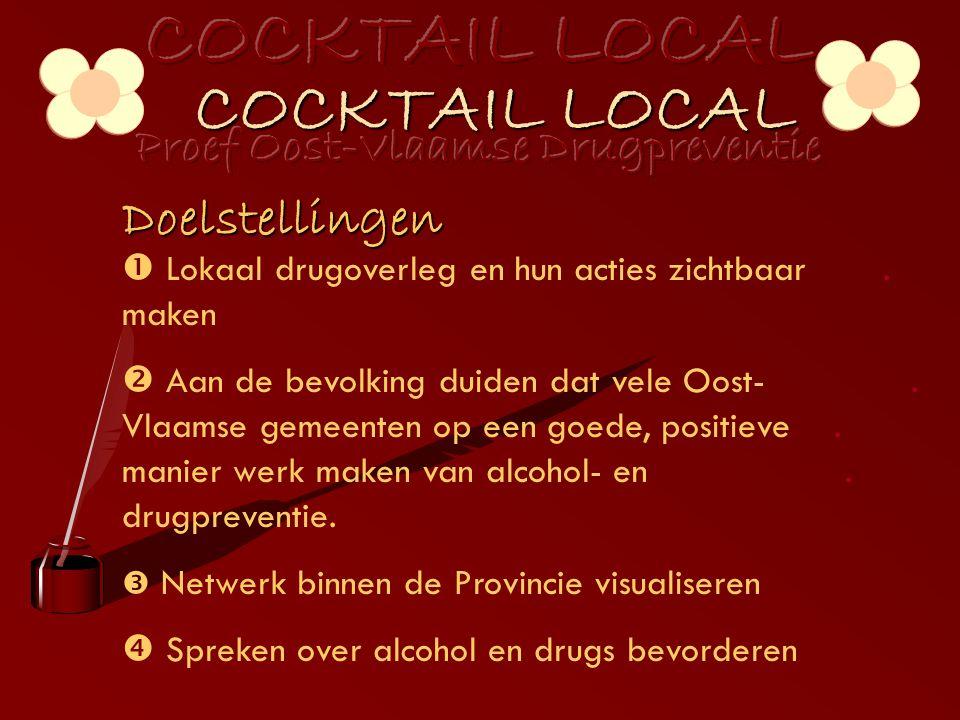 COCKTAIL LOCAL Doelstellingen  Lokaal drugoverleg en hun acties zichtbaar.