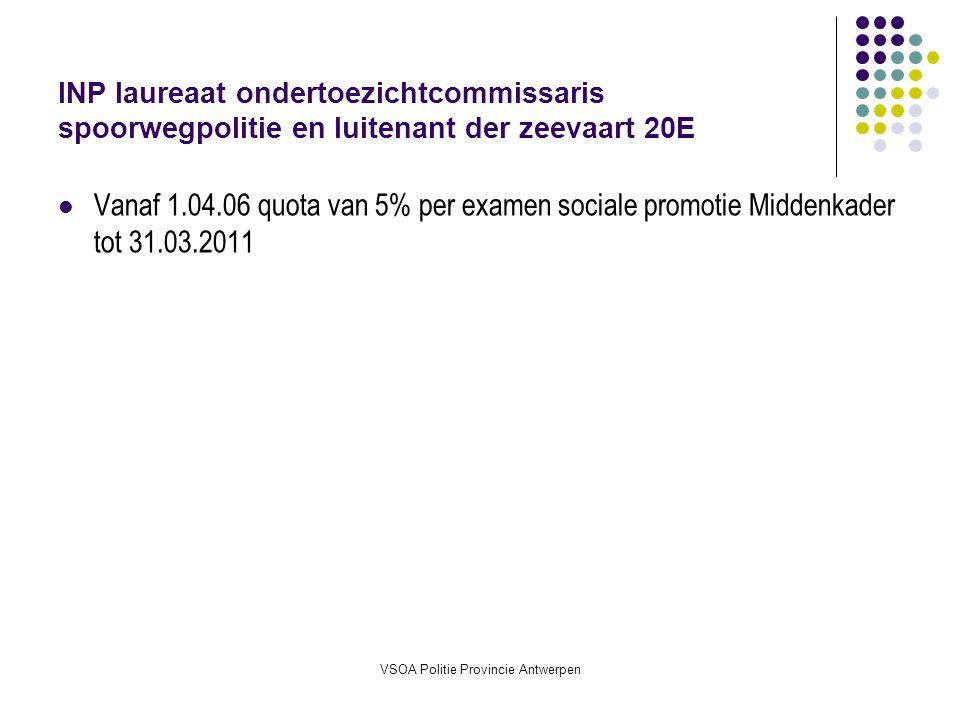 VSOA Politie Provincie Antwerpen INP laureaat ondertoezichtcommissaris spoorwegpolitie en luitenant der zeevaart 20E Vanaf 1.04.06 quota van 5% per examen sociale promotie Middenkader tot 31.03.2011