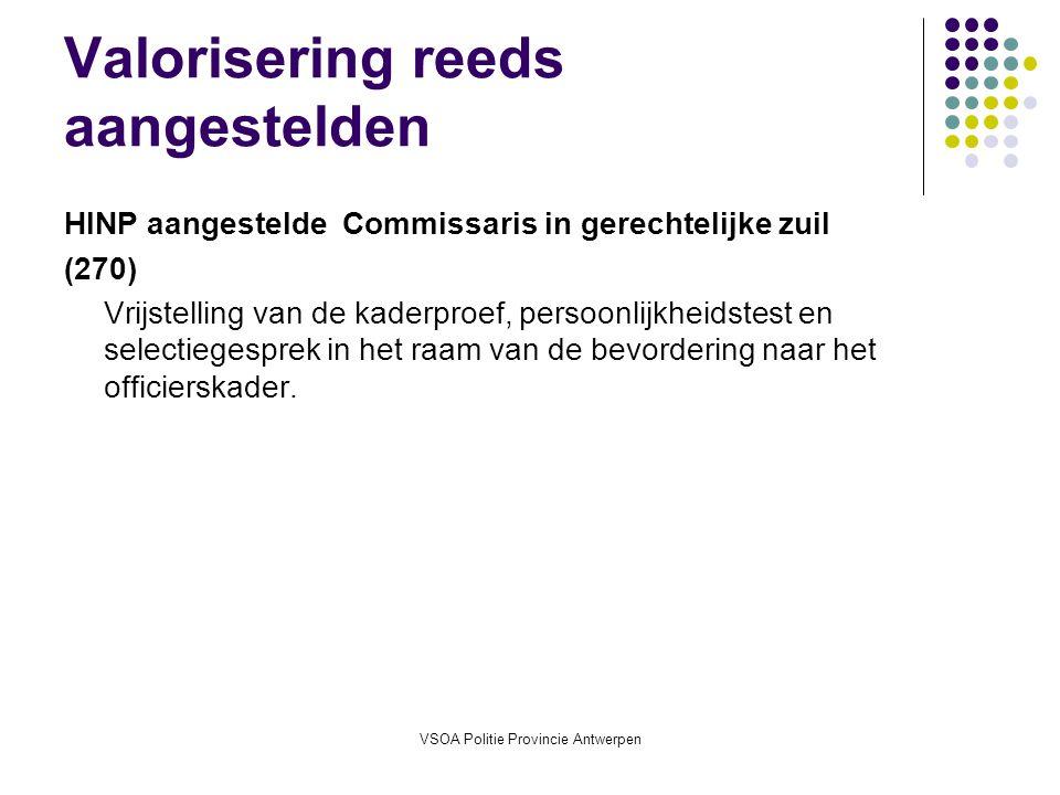 VSOA Politie Provincie Antwerpen Valorisering reeds aangestelden HINP aangestelde Commissaris in gerechtelijke zuil (270) Vrijstelling van de kaderproef, persoonlijkheidstest en selectiegesprek in het raam van de bevordering naar het officierskader.