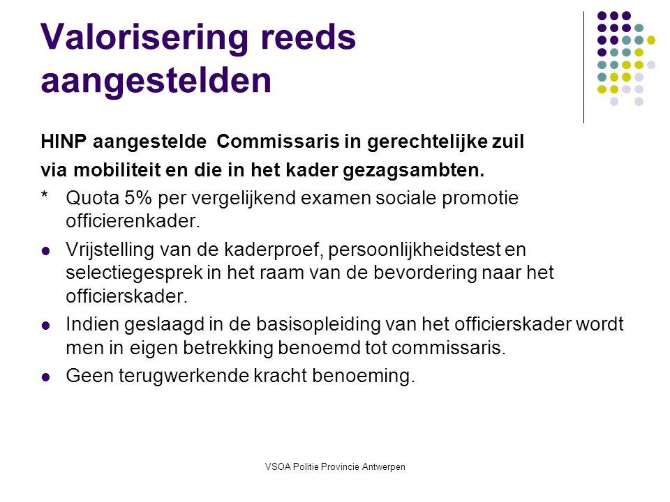 VSOA Politie Provincie Antwerpen Valorisering reeds aangestelden HINP aangestelde Commissaris in gerechtelijke zuil via mobiliteit en die in het kader gezagsambten.