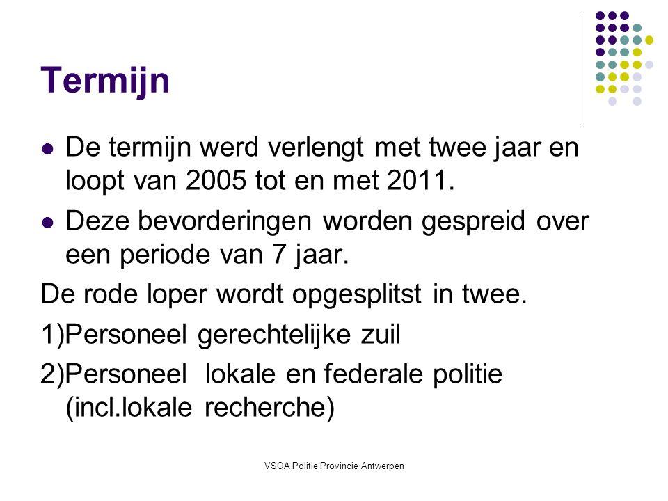 VSOA Politie Provincie Antwerpen Termijn De termijn werd verlengt met twee jaar en loopt van 2005 tot en met 2011.