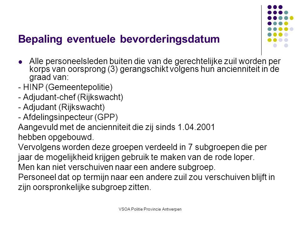 VSOA Politie Provincie Antwerpen Bepaling eventuele bevorderingsdatum Alle personeelsleden buiten die van de gerechtelijke zuil worden per korps van oorsprong (3) gerangschikt volgens hun ancienniteit in de graad van: - HINP (Gemeentepolitie) - Adjudant-chef (Rijkswacht) - Adjudant (Rijkswacht) - Afdelingsinpecteur (GPP) Aangevuld met de ancienniteit die zij sinds 1.04.2001 hebben opgebouwd.