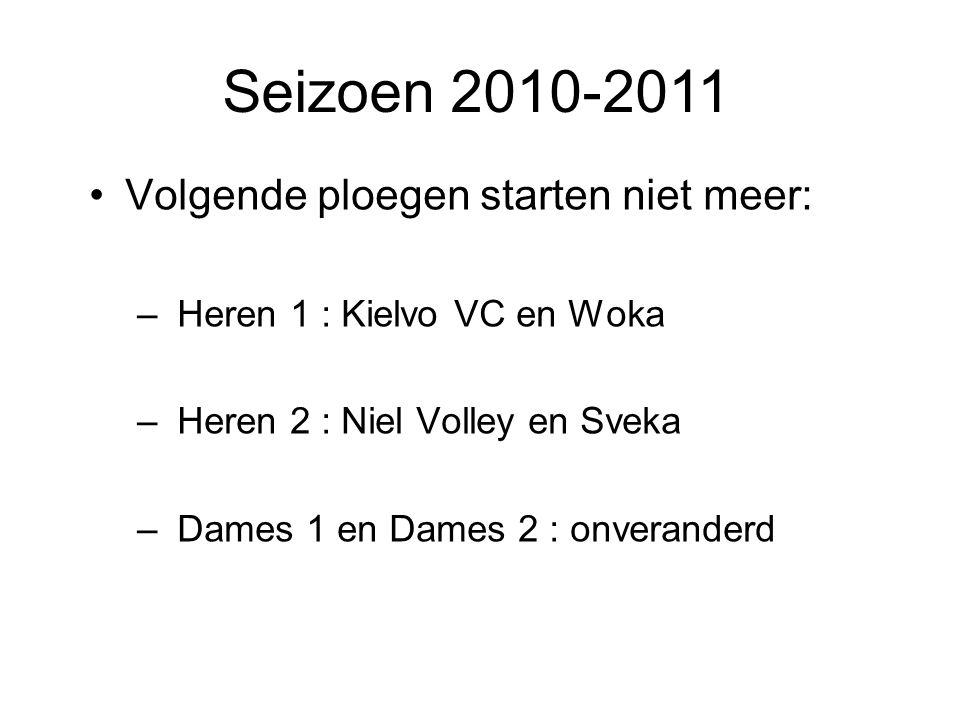 Volgende ploegen starten niet meer: – Heren 1 : Kielvo VC en Woka – Heren 2 : Niel Volley en Sveka – Dames 1 en Dames 2 : onveranderd Seizoen 2010-2011