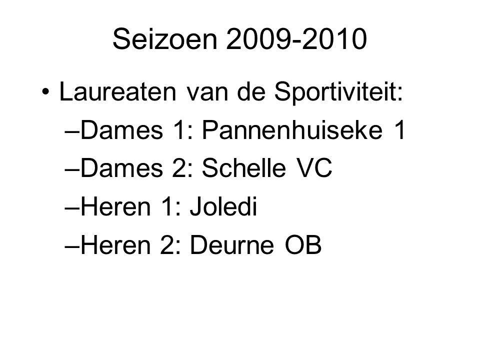 Seizoen 2009-2010 Laureaten van de Sportiviteit: –Dames 1: Pannenhuiseke 1 –Dames 2: Schelle VC –Heren 1: Joledi –Heren 2: Deurne OB