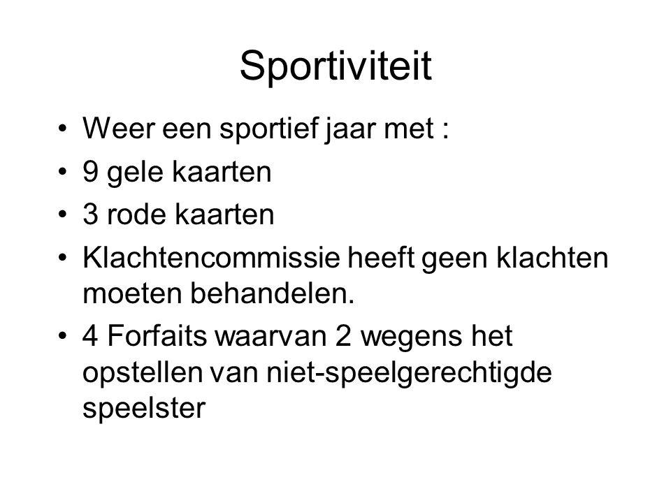 Sportiviteit Weer een sportief jaar met : 9 gele kaarten 3 rode kaarten Klachtencommissie heeft geen klachten moeten behandelen.