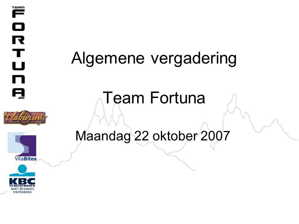 Algemene vergadering Team Fortuna Maandag 22 oktober 2007