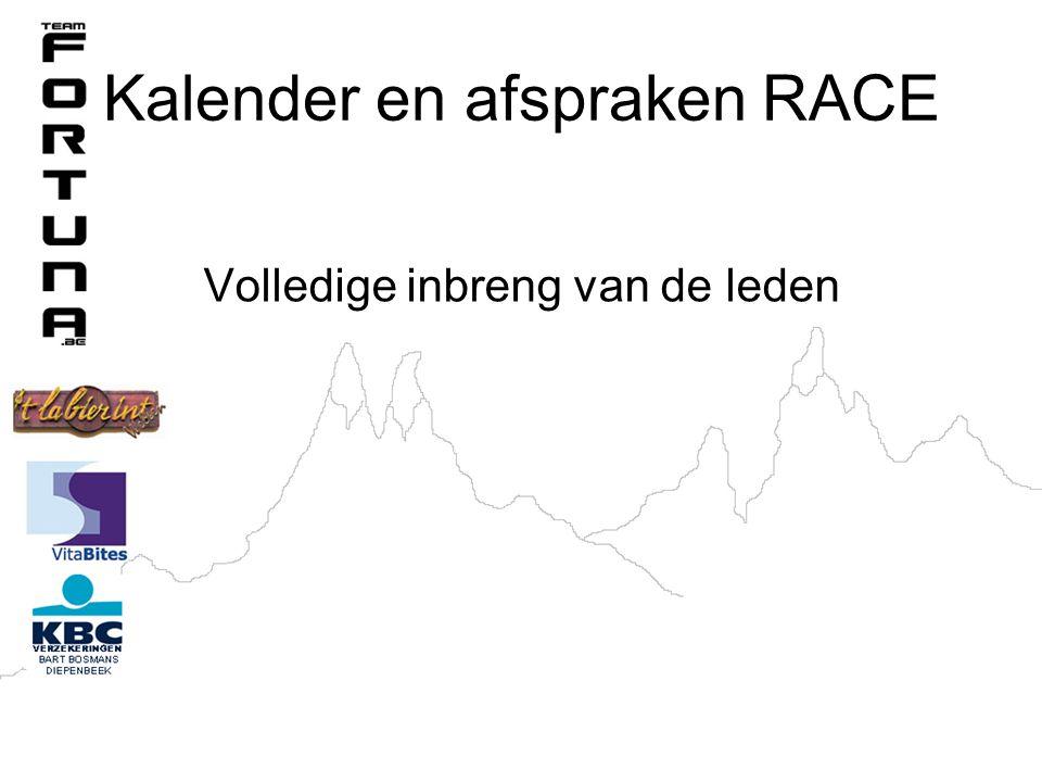 Kalender en afspraken RACE Volledige inbreng van de leden