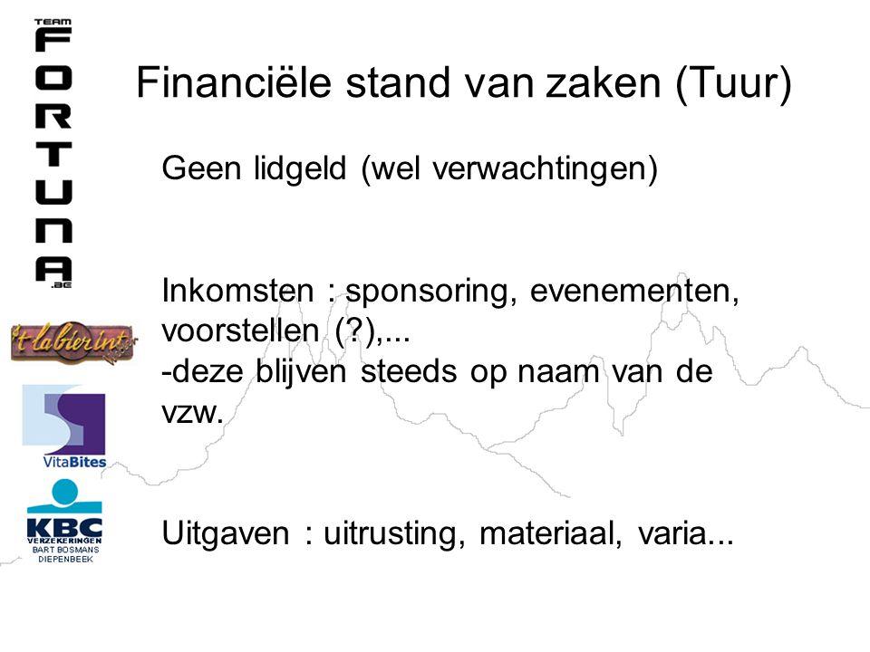 Financiële stand van zaken (Tuur) Geen lidgeld (wel verwachtingen) Inkomsten : sponsoring, evenementen, voorstellen (?),...
