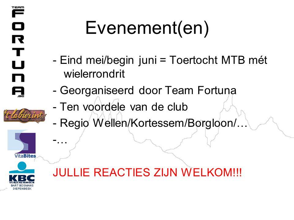 Evenement(en) - Eind mei/begin juni = Toertocht MTB mét wielerrondrit - Georganiseerd door Team Fortuna - Ten voordele van de club - Regio Wellen/Kortessem/Borgloon/… -… JULLIE REACTIES ZIJN WELKOM!!!