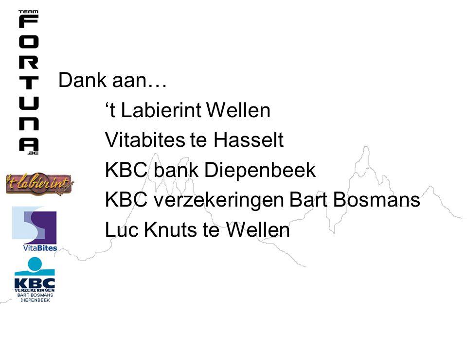 Dank aan… 't Labierint Wellen Vitabites te Hasselt KBC bank Diepenbeek KBC verzekeringen Bart Bosmans Luc Knuts te Wellen