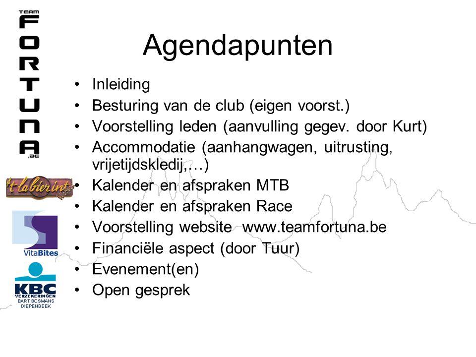 Agendapunten Inleiding Besturing van de club (eigen voorst.) Voorstelling leden (aanvulling gegev.