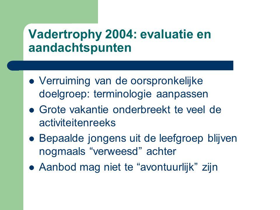 Vadertrophy 2004: evaluatie en aandachtspunten Verruiming van de oorspronkelijke doelgroep: terminologie aanpassen Grote vakantie onderbreekt te veel