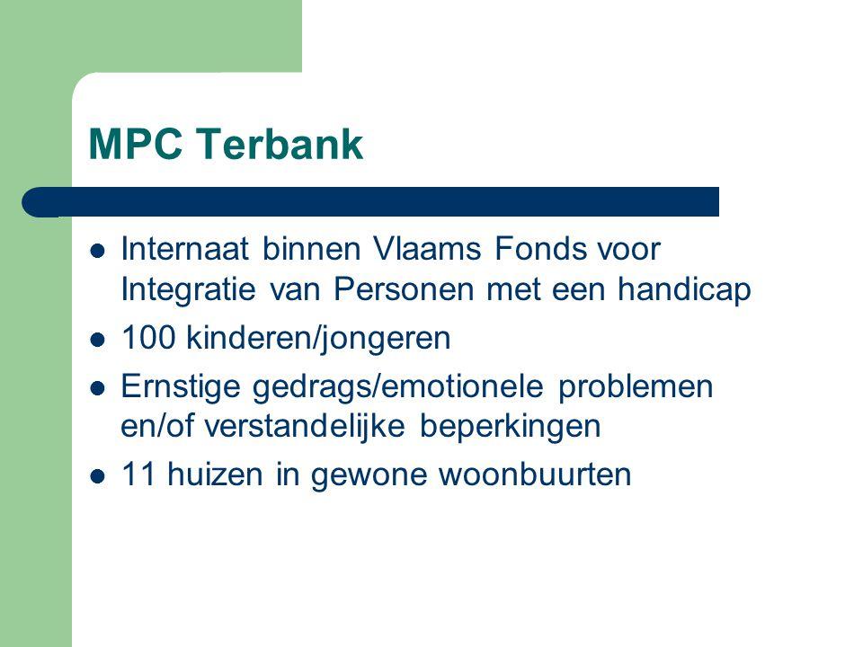 MPC Terbank Internaat binnen Vlaams Fonds voor Integratie van Personen met een handicap 100 kinderen/jongeren Ernstige gedrags/emotionele problemen en
