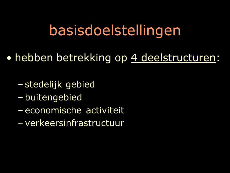 basisdoelstellingen hebben betrekking op 4 deelstructuren: –stedelijk gebied –buitengebied –economische activiteit –verkeersinfrastructuur