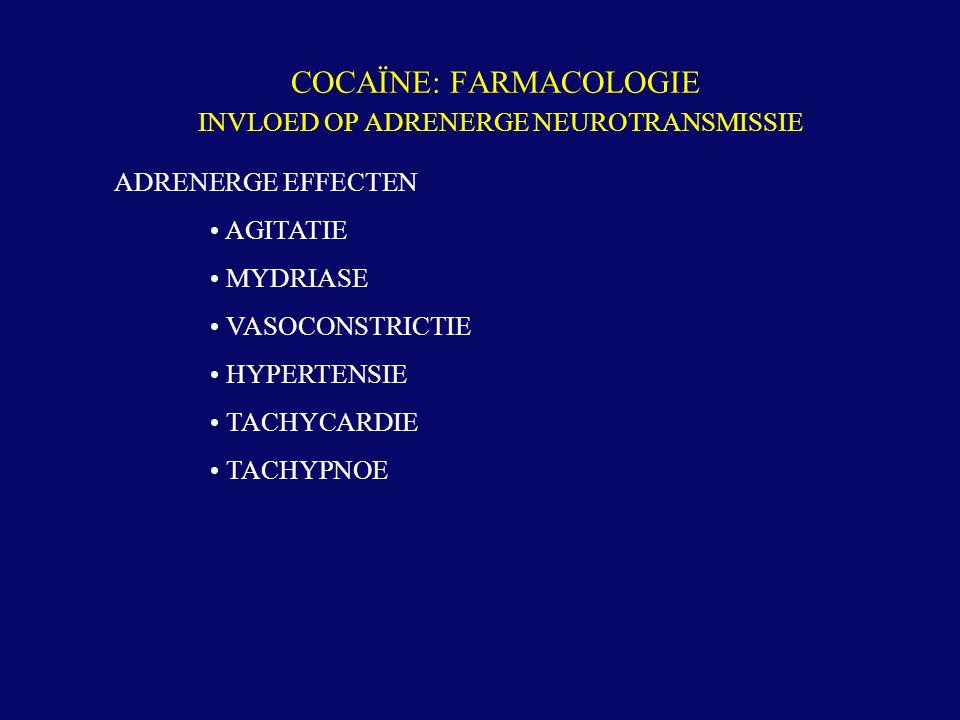 COCAÏNE: FARMACOLOGIE INVLOED OP ADRENERGE NEUROTRANSMISSIE ADRENERGE EFFECTEN AGITATIE MYDRIASE VASOCONSTRICTIE HYPERTENSIE TACHYCARDIE TACHYPNOE