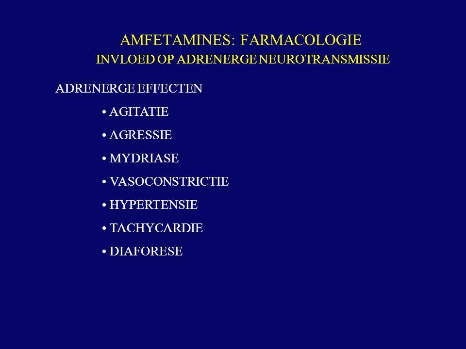 AMFETAMINES: FARMACOLOGIE INVLOED OP ADRENERGE NEUROTRANSMISSIE ADRENERGE EFFECTEN AGITATIE AGRESSIE MYDRIASE VASOCONSTRICTIE HYPERTENSIE TACHYCARDIE