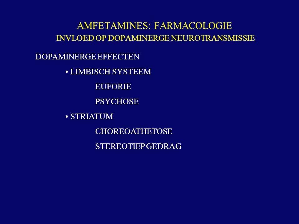 AMFETAMINES: FARMACOLOGIE INVLOED OP DOPAMINERGE NEUROTRANSMISSIE DOPAMINERGE EFFECTEN LIMBISCH SYSTEEM EUFORIE PSYCHOSE STRIATUM CHOREOATHETOSE STERE