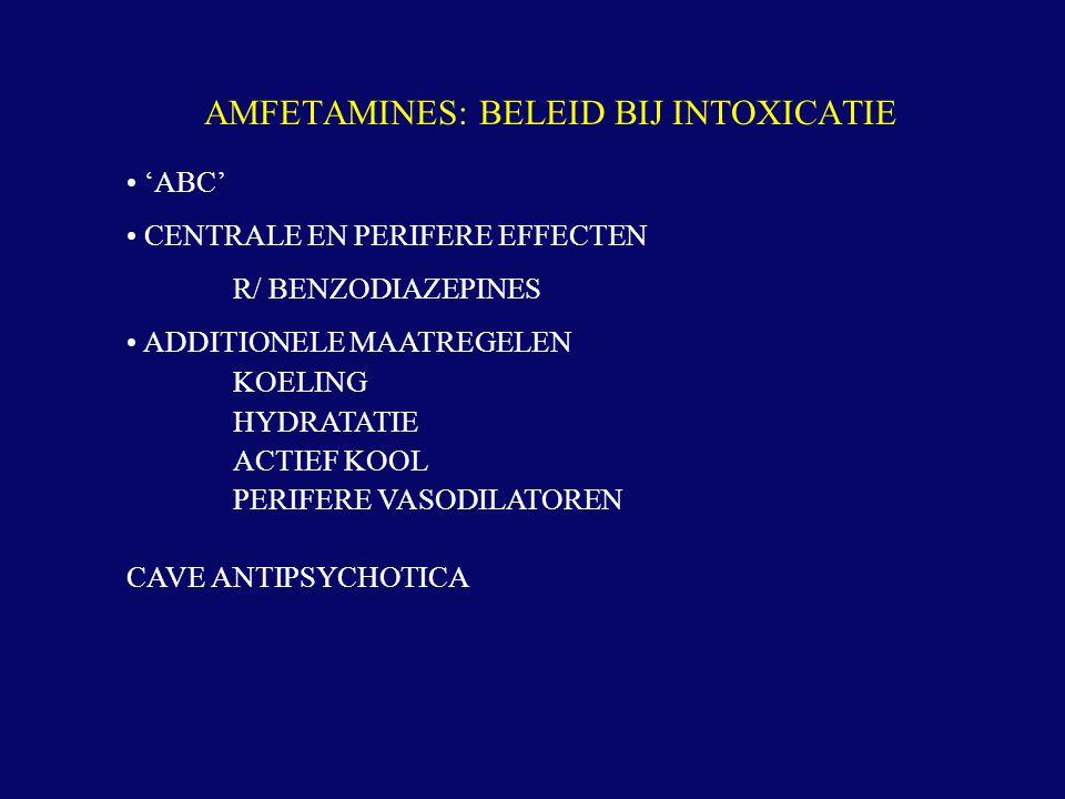 'ABC' CENTRALE EN PERIFERE EFFECTEN R/ BENZODIAZEPINES ADDITIONELE MAATREGELEN KOELING HYDRATATIE ACTIEF KOOL PERIFERE VASODILATOREN CAVE ANTIPSYCHOTI