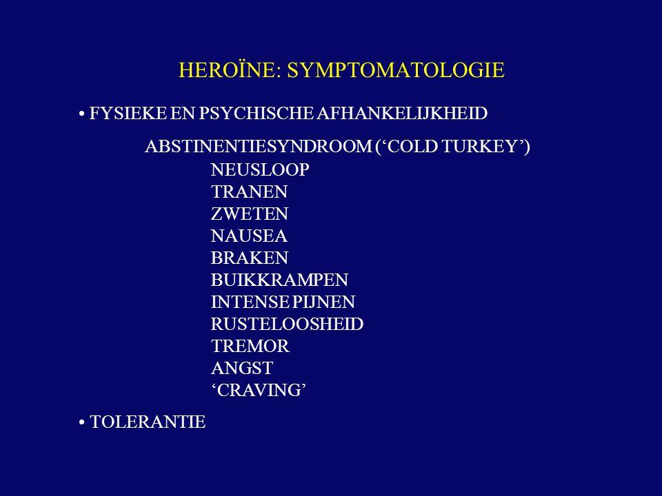 FYSIEKE EN PSYCHISCHE AFHANKELIJKHEID ABSTINENTIESYNDROOM ('COLD TURKEY') NEUSLOOP TRANEN ZWETEN NAUSEA BRAKEN BUIKKRAMPEN INTENSE PIJNEN RUSTELOOSHEI