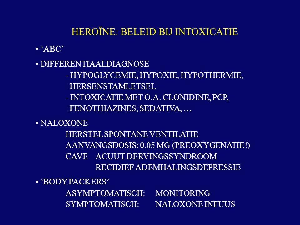 'ABC' DIFFERENTIAALDIAGNOSE - HYPOGLYCEMIE, HYPOXIE, HYPOTHERMIE, HERSENSTAMLETSEL - INTOXICATIE MET O.A. CLONIDINE, PCP, FENOTHIAZINES, SEDATIVA, … N