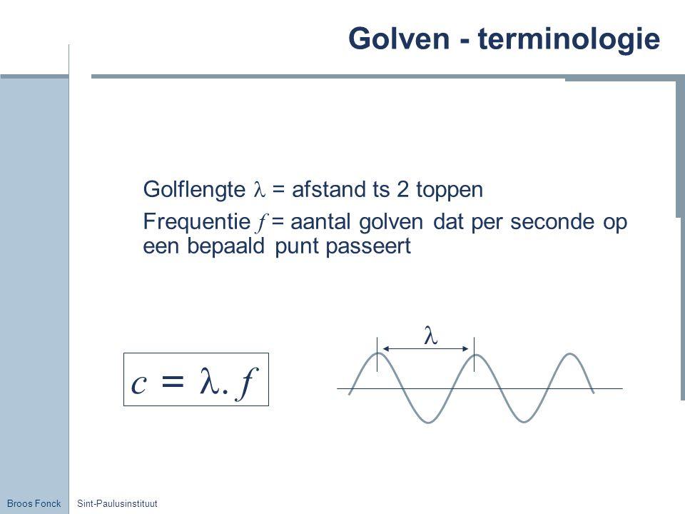 Broos Fonck Sint-Paulusinstituut Golven - terminologie Golflengte = afstand ts 2 toppen Frequentie f = aantal golven dat per seconde op een bepaald pu