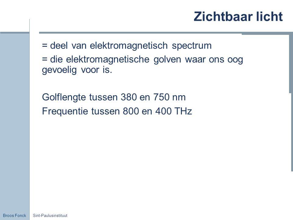 Broos Fonck Sint-Paulusinstituut Zichtbaar licht = deel van elektromagnetisch spectrum = die elektromagnetische golven waar ons oog gevoelig voor is.