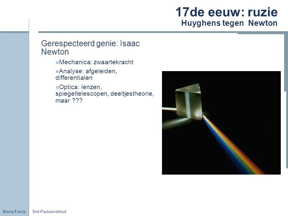 Broos Fonck Sint-Paulusinstituut 17de eeuw: ruzie Huyghens tegen Newton Gerespecteerd genie: Isaac Newton Mechanica: zwaartekracht Analyse: afgeleiden