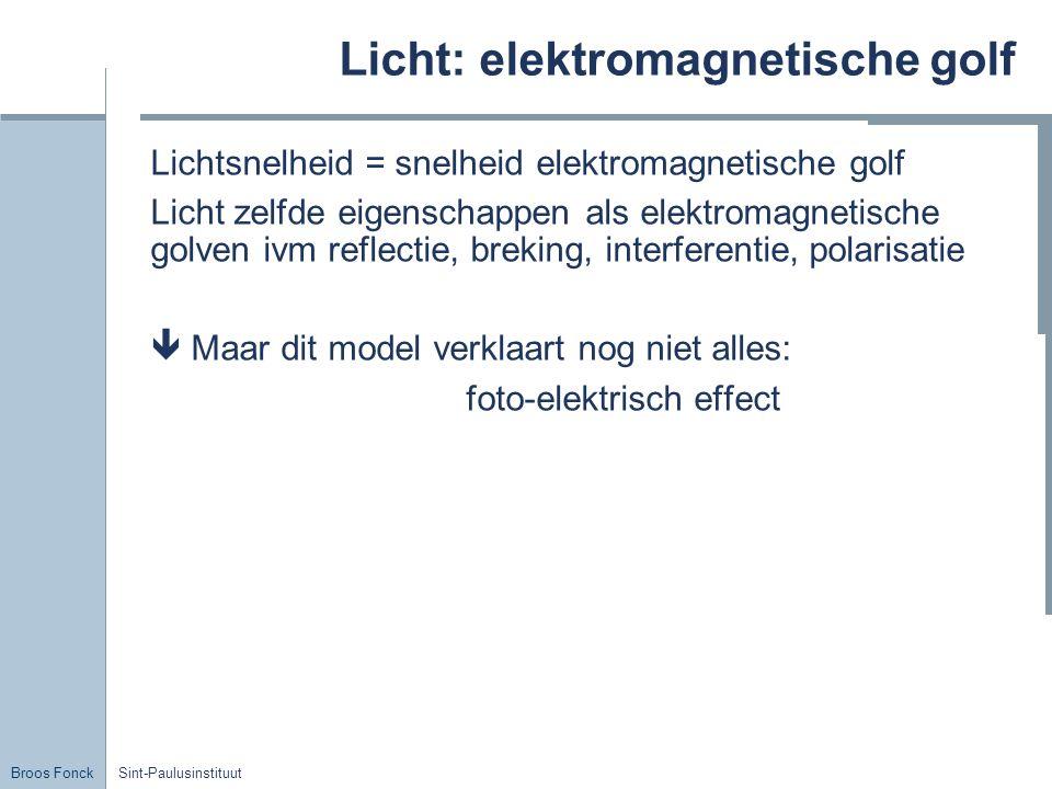 Broos Fonck Sint-Paulusinstituut Licht: elektromagnetische golf Lichtsnelheid = snelheid elektromagnetische golf Licht zelfde eigenschappen als elektr