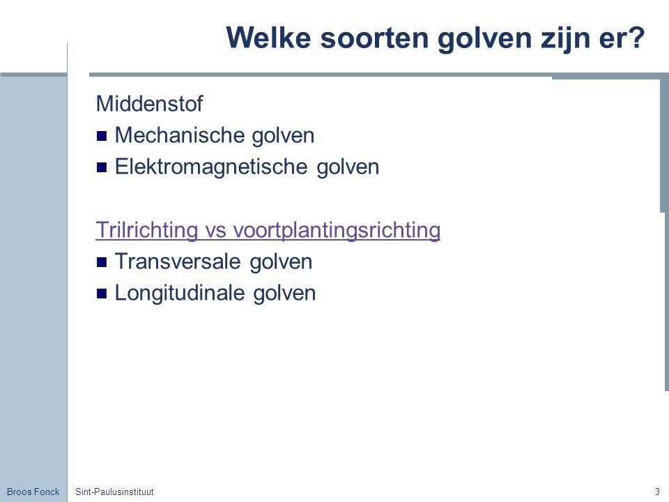 Broos Fonck Sint-Paulusinstituut3 Welke soorten golven zijn er? Middenstof Mechanische golven Elektromagnetische golven Trilrichting vs voortplantings