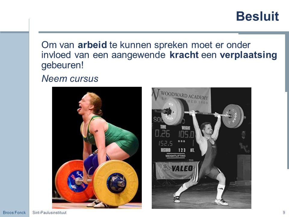Broos Fonck Sint-Paulusinstituut10 Onderzoek Arbeid is recht of omgekeerd evenredig met de kracht.