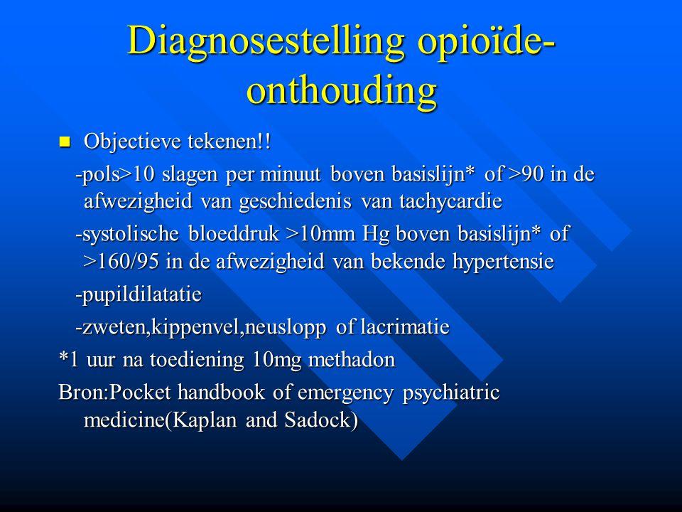 Diagnosestelling opioïde- onthouding Objectieve tekenen!! Objectieve tekenen!! -pols>10 slagen per minuut boven basislijn* of >90 in de afwezigheid va