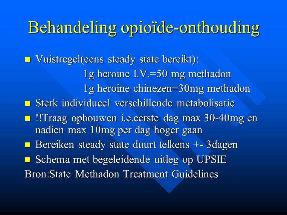 Behandeling opioïde-onthouding Vuistregel(eens steady state bereikt): Vuistregel(eens steady state bereikt): 1g heroine I.V.=50 mg methadon 1g heroine