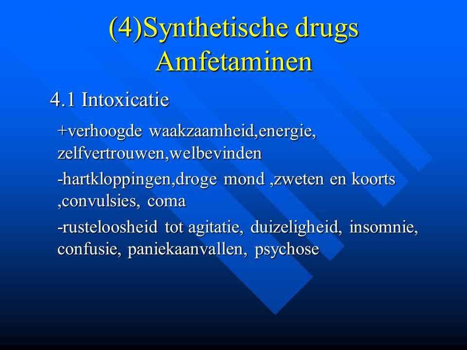(4)Synthetische drugs Amfetaminen 4.1 Intoxicatie 4.1 Intoxicatie +verhoogde waakzaamheid,energie, zelfvertrouwen,welbevinden -hartkloppingen,droge mo