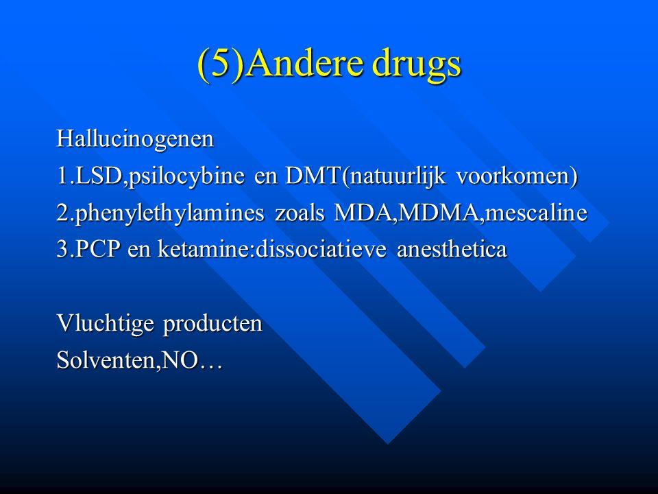 (5)Andere drugs Hallucinogenen 1.LSD,psilocybine en DMT(natuurlijk voorkomen) 2.phenylethylamines zoals MDA,MDMA,mescaline 3.PCP en ketamine:dissociat