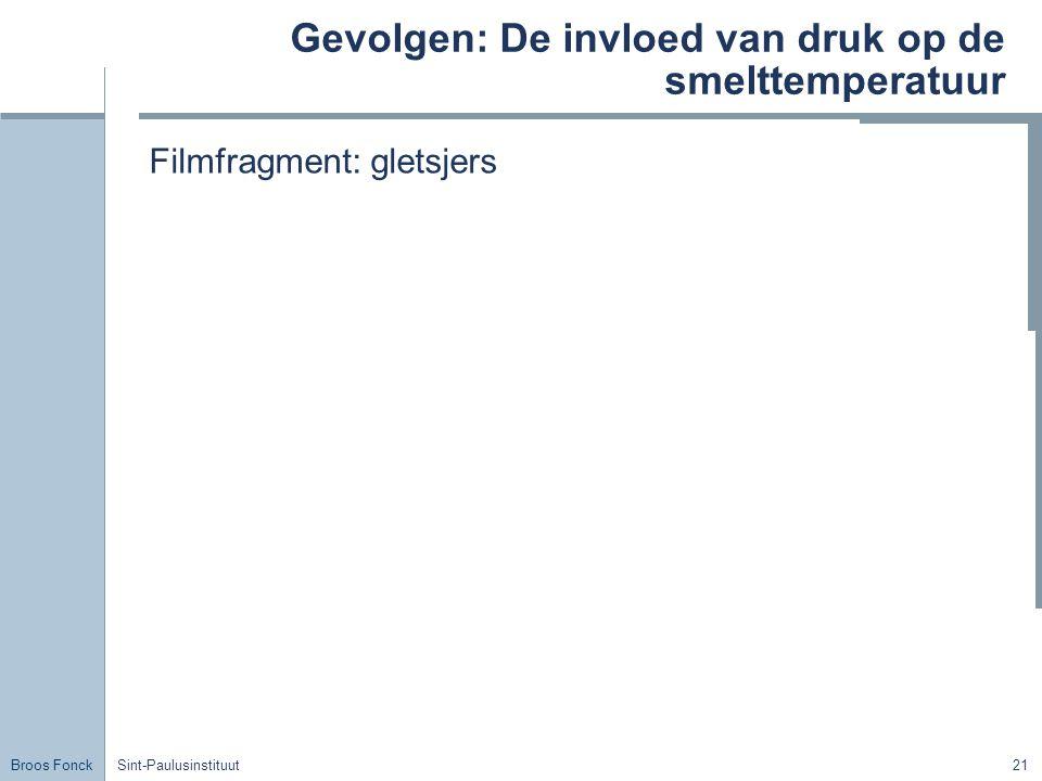 Broos Fonck Sint-Paulusinstituut21 Gevolgen: De invloed van druk op de smelttemperatuur Filmfragment: gletsjers