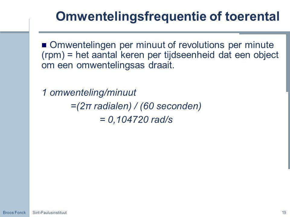 Broos Fonck Sint-Paulusinstituut19 Omwentelingsfrequentie of toerental Omwentelingen per minuut of revolutions per minute (rpm) = het aantal keren per