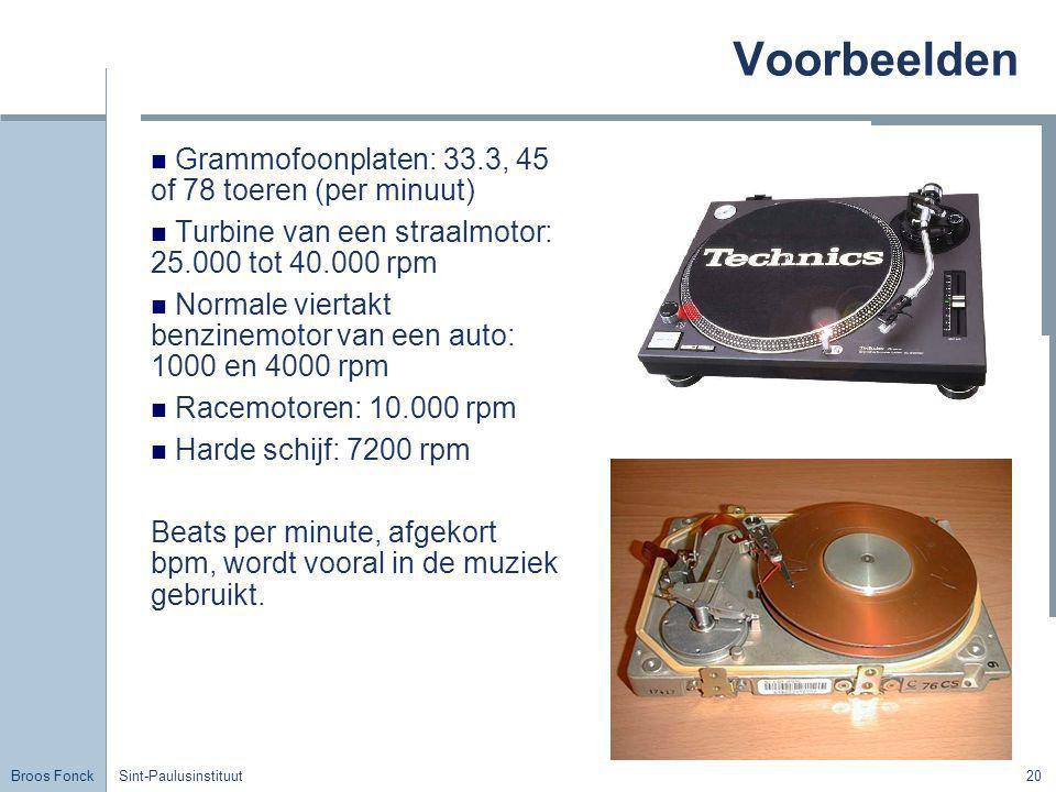 Broos Fonck Sint-Paulusinstituut20 Voorbeelden Grammofoonplaten: 33.3, 45 of 78 toeren (per minuut) Turbine van een straalmotor: 25.000 tot 40.000 rpm
