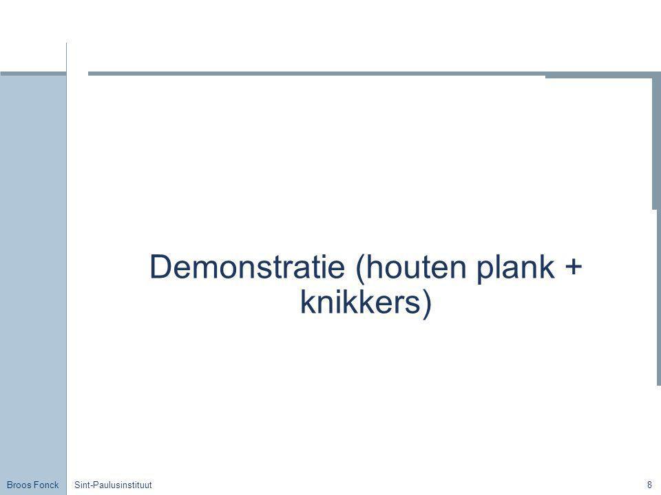 Broos Fonck Sint-Paulusinstituut9 De horizontale worp Onafhankelijkheidsbeginsel Horizontaal: ERB met cte snelheid Verticaal: EVRB – vrije val Bewegingsvergelijkingen: